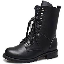 Bottine Chaud Femme Bottes de Combat Fille Bottes Militaires Mi-Mollet Cuir  à Lacets Chaussures 4cfc233ee6c3