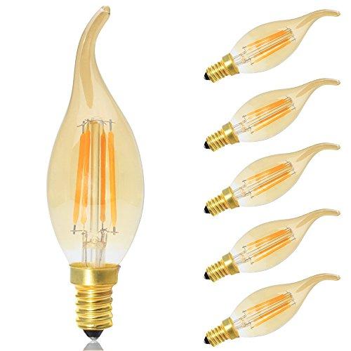 5er LED E14 Dimmbar Kerze Lampe 4W,LED Filament Glühlampen,Amber Glas,Warmweiß 2700K,Ersetzt 30 Watt Glühbirnen,AC 220V