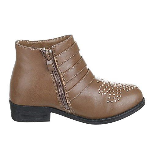 Enfants chaussures bottines masser 7031–7 rivets bottes fille Marron - Braun 7031-8