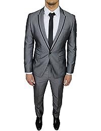 b098cde30f87 Abito completo uomo sartoriale grigio lucido slim fit vestito gessato  smoking elegante cerimonia