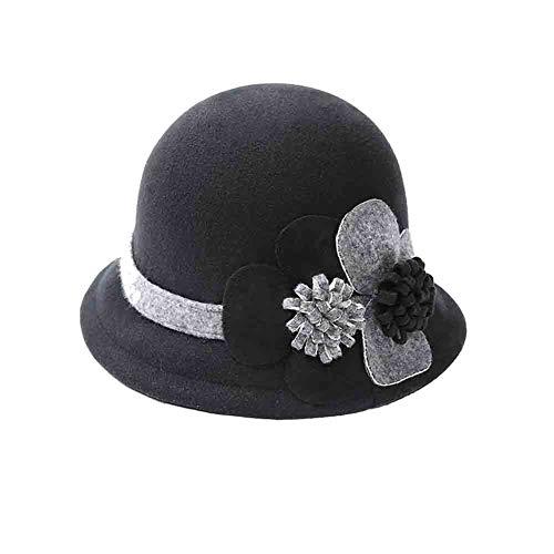 SUN Cloche Bucket Hats Für Frauen,Bowler Kirche Hut Herbst Und Winter Filzhut Kurzer Hut,Einstellbare Kopfumfang Cloche Bucket