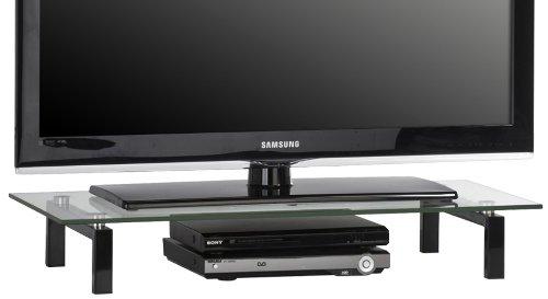 Maja 16039599 Meuble TV/lecteur DVD en verre et métal Noir 820 x 125 x 350 cm