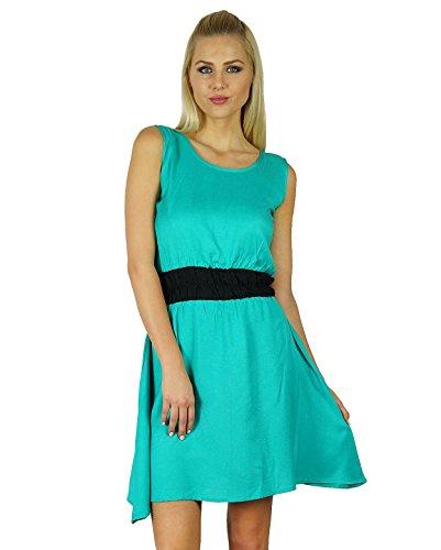 Bimba femmes Blanc Rayon smocks la taille robe longueur au genou Robe patineuse Sea Green