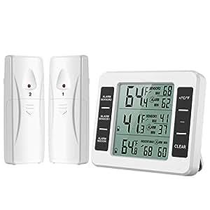 Oria Thermomètre Frigo Congelateur, Thermomètre Réfrigérateur sans Fil avec 2 Capteurs, Alarme Sonore, Max/Min Record pour Maison, Restaurants etc