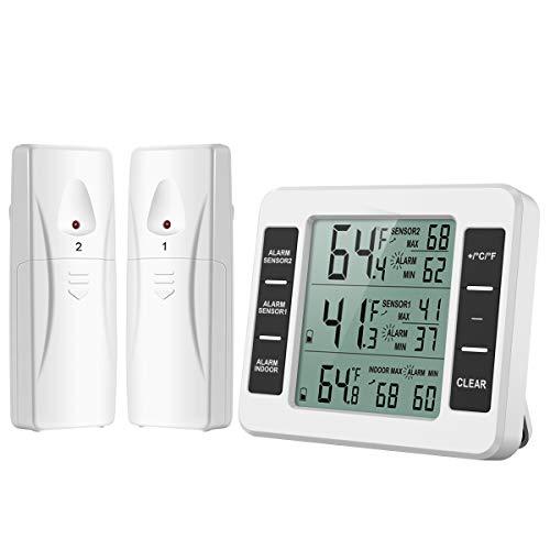 [Neue Version] ORIA Kühlschrank Thermometer Gefrierschrank Thermometer, Kühlschrankthermometer Innen und Außen Thermometer mit 2 Sensoren, Temperatur Alarm, MIN / MAX, Temperaturtrendanzeige Pfeil -