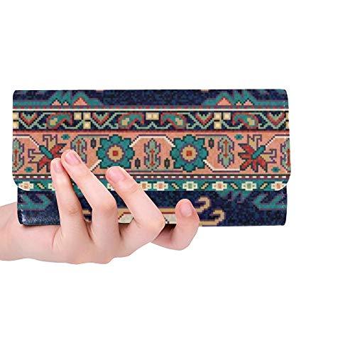 Traditionelle Orientalische Teppich (Einzigartige benutzerdefinierte Bunte orientalische Mosaik Teppich traditionelle Folk Frauen Trifold Wallet Lange Geldbörse Kreditkarteninhaber Fall Handtasche)