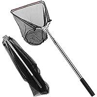 Powcan Ultra-Leggero retino da Pesca a Scomparsa Rete da Pesca Pieghevole guadino con Manico telescopico, Lunghezza 170 cm