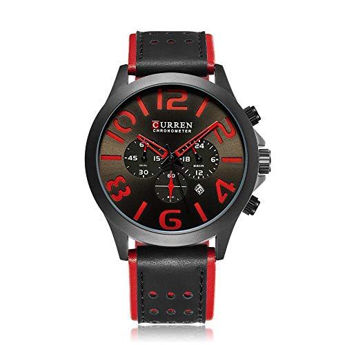 SoYoun Armbanduhren für Herren Quarz Uhren Lederband Zeiger digital wasserdicht 30M Dicke 13mm Pistole Gesicht schwarzer Kaffee