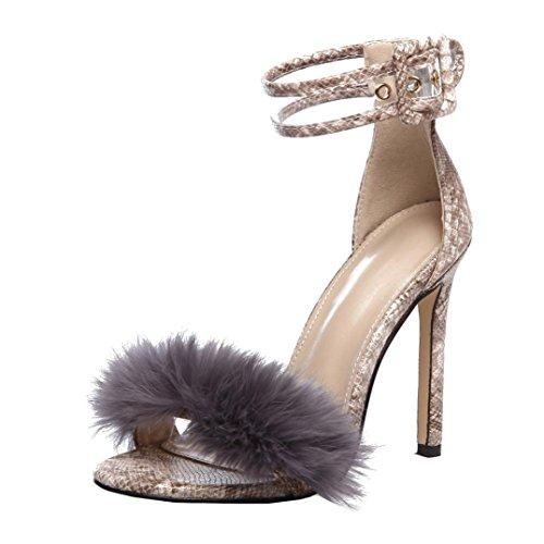 DEELIN Schuhe Damen Sandalen Flach Schuhe mit Strass Flip Flops Sommer Wildleder High Heels Ankle Sandalen Weibliche Hochzeit Römische Schnalle (35, Khaki)