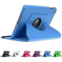 doupi 360 Deluxe Protección Funda para Apple iPad mini 1 2 3 Smart Case Sleep / Wake función 360 grados de la cubierta de cuero giratoria del caso del soporte protector de la pantalla cubierta de la bolsa, Azul