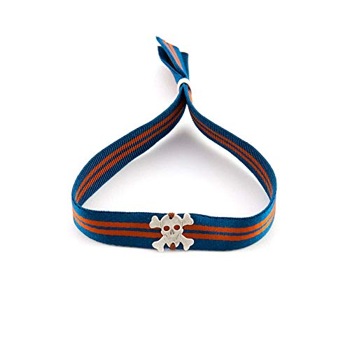 (Verstellbares Unisex Armband mit Gummiband und Totenkopf. Surf Mann Armband. Armband Frau Yoga. Retrostyle)