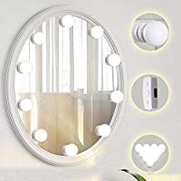 TOMNEW Vanity Mirror Lights, Hollywood Style LED Vanity Mirror Lights 10 Dimmable Bulbs Kit for Makeup Dressing Table with Touch Dimmer and Power Supply Plug in Lighting Fixture Strip
