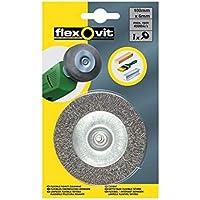 Flexovit 63642556883 Cepillos Metálicos Con Eje, Grueso, 6 mm Eje, 4500 rpm Máx Velocidad, 100 mm Diámetro, Set de 10