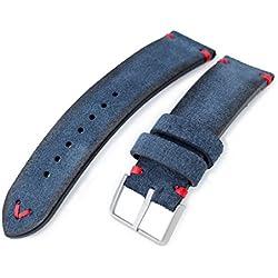 21mm MiLTAT Navy Blue Genuine Nubuck Leather Watch Strap, Red Stitching, Sandblasted Buckle