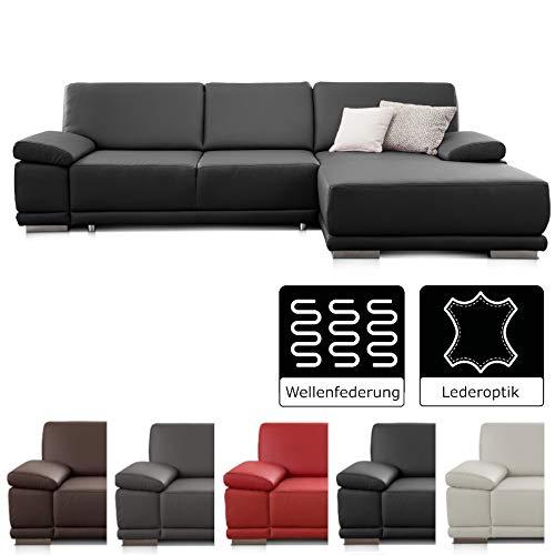 CAVADORE Ecksofa Corianne / Sofa in Kunstleder und modernem Design / Inkl. beidseitiger Armteilverstellung und Longchair rechts / 282 x 80 x 162  / Kunstleder schwarz