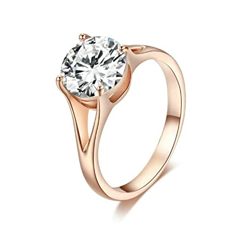 Yoursfs Engagement Solitaire Rings for Women Weddings Rings for Love 18ct Rose Gold Plated Fress Jewellery for