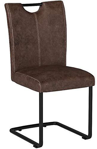 Woodkings 4 x Freischwinger Schwingstuhl Kenton, Stoff braun, Vintage Optik, Esszimmerstuhl modern, Stuhl mit Griff, Designstuhl,...