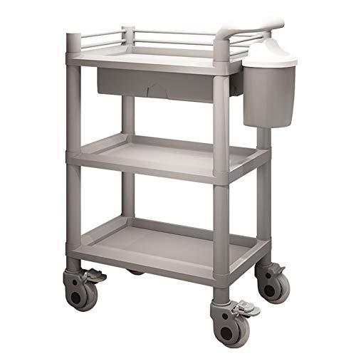3-Fach-Utility-ABS-Wagen mit Schublade, Rollender Gerätewagen Auf Rädern für Medical Beauty Salon, 220 Pfund Kapazität (Color : Gray, Size : 54x37x98cm) -