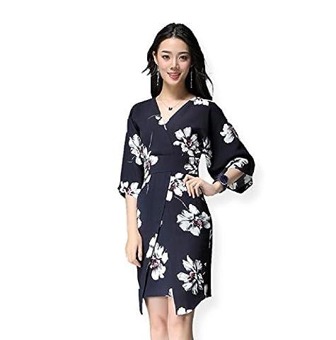 Sypdress Fond noir Imprime les femmes de grande taille col V Manches courtes Kimono Robe Slim,L