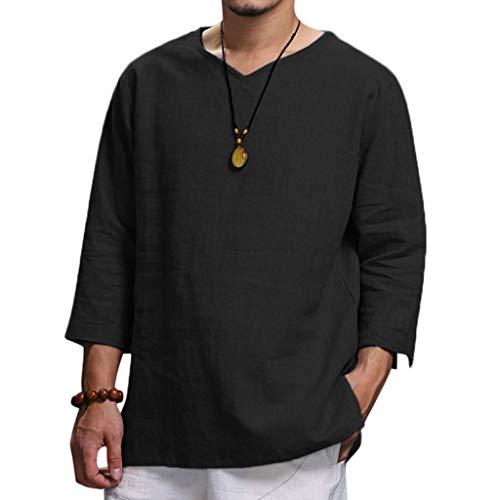 Neue Reine Baumwolle und Hanf Top komfortable Mode Bluse Top(X-Large,Schwarz) ()