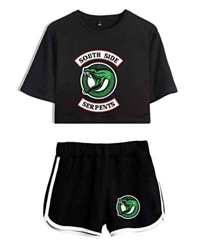 ZIGJOY Riverdale Crop Top T-Shirts und Shorts Kleidung Anzug für Mädchen und Frauen S - Cheerleading Kleidung