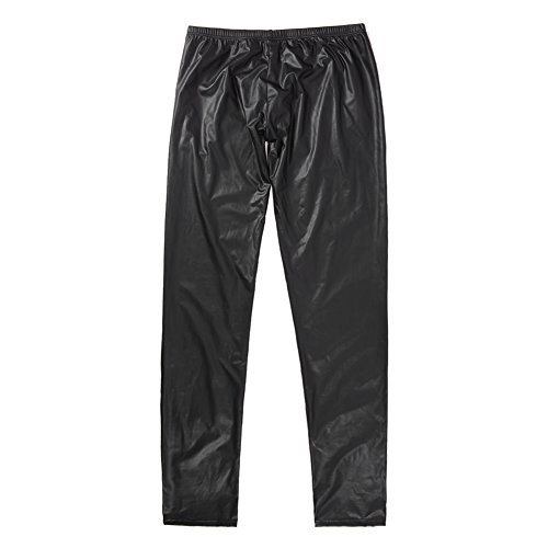 West See Herren Lederhose Leggings Stretch Pants Unterhose Tight WetLook Schwarz (DE M(Etikette L), Schwarz) - 4