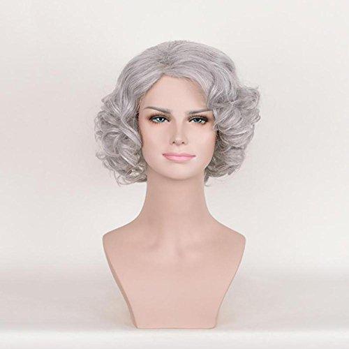 Frauen Art und Weise Kurze wellenförmige lockige graue Perücken Synthetisches Haar Hoch Temperatuer Natürlich Als Real Hair Perücken für Cosplay Daily - Graue Haare Kostüm Perücke