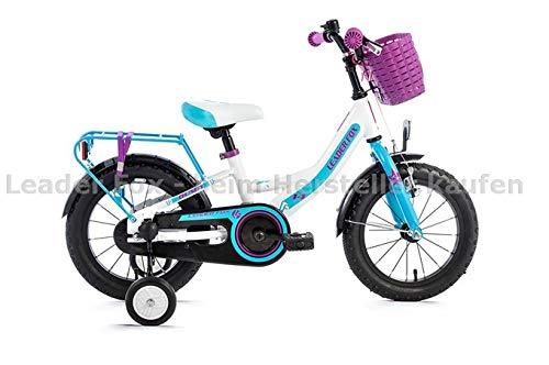 Leaderfox 14 Zoll Leichtes Alu Kinder Fahrrad Leader Fox Busby Mädchen Rad weiß blau Korb (Fox-räder)