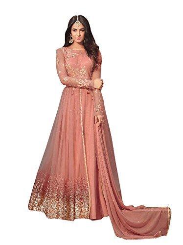 Nilkanth Enterprise Women's Georgette Anarkali Gown (NE_Sawagat_Peach)