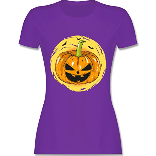 Shirtracer Halloween - Halloween Kürbis Gesicht - Damen T-Shirt Rundhals Lila