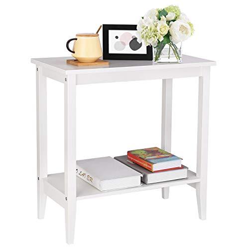 Homfa Tavolino Quadrato Moderno per Soggiorno, Tavolino in Legno da Divano caffè tè Salotto Bianco (56× 27 × 60 cm)