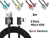 Magnetische 90 ° Ellenbogen Micro USB Runde Magnetic 2.4A Schnell Ladekabel LED für Samsung Galaxy S7 Rand / S7 / S6 / S4 / S3, Kindle, MP3 und mehr (nur Lade)