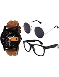 3c5e2f6e33 Y S UV Protected 55 Unisex Round Sunglasses Goggles Watch Combo for Mens  Women Boys and Girls
