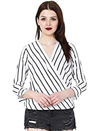 MALLORY WINSTON Women's Crepe Stripe Crop Top