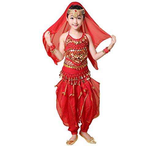 Anguang Damen Elegant Mädchen Kinder Bauchtanz Halloween Hosen Tanzkostüm-Set Rot#3 M