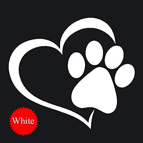 Hihey Hund Herzform Muster Pfoten Auto Aufkleber,Auto Fenster Folien 3D Aufkleber (Weiß) (Auto-fenster-aufkleber Hunde)
