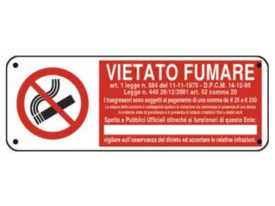"""Cartello """"VIETATO FUMARE"""" con normativa e simbolo"""