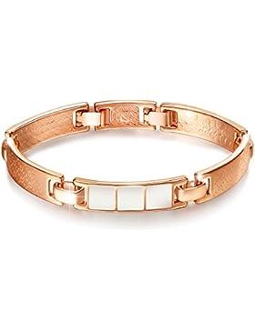 Damen Rosegold Armband Rose Vergoldet Armreif Schmuck Geschenk für Freundin Modeschmuck 17+2.0cm