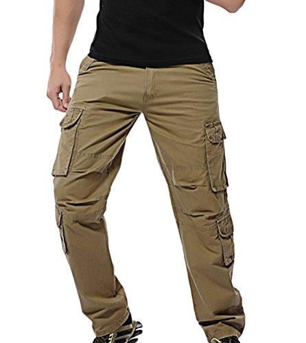 Homme Outdoor Cargo Pantalon De Loisir Travail Bermuda Lavage Grand Taille Pantalon Longue Multi Poches Kaki 33