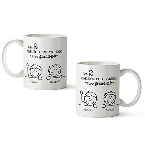 Set de 2 tasses imprimées - Meilleures raisons d'être Mamie et Papi - Mugs personnalisés avec [NOMS des petits-enfants] - Idées cadeau d'anniversaire, de Noel pour mamie et papi - Cadeaux pour mamie et papi - Idée cadeau