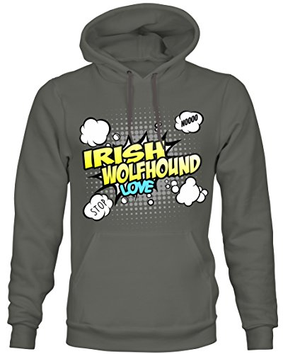 Unisex Hoodie Kapuzensweatshirt - IRISH WOLFHOUND Hund irische Hunderasse Irland Windhund Wolfshund - COMIC Cartoon Fun Siviwonder dark grey S (Irish Hoodie Wolfhound Herren)