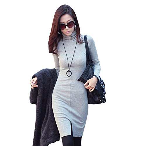 Rrimin Women Autumn Winter Knit Casual Work Sweater Fitted Slim Dress Gray M