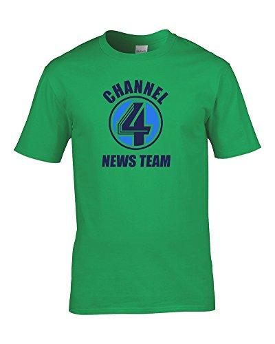 Kanal Vier News Team- Uns Anchor Man Style Herren-Shirt aus Fett Kuckuck Gr. Medium, Lime (Kanal 2 News)