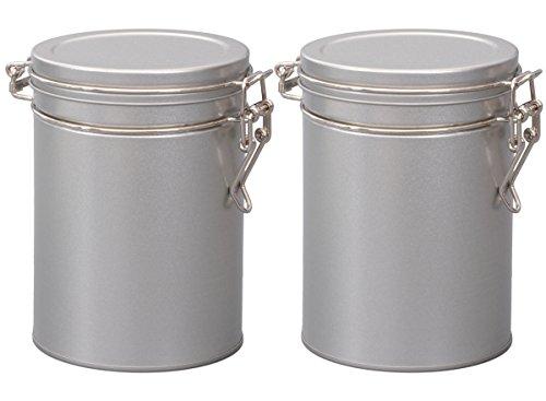 Aricola Teedosen Set/Kaffeedosen Set/Gewürzdosen Set, 2 Stück Silver Round rund, mit Bügelverschluss 95 x 130mm (ØxH) - 2 Stück Tee
