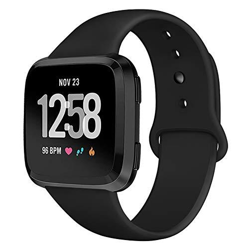Kmasic Sport Armband Kompatibel Fitbit Versa/Versa Lite Edition, Soft Silikon Ersatz Armband Kompatibel Fitbit Versa Smart Fitness Uhr, Groß, Schwarz mit schwarzer Taste Schwarze Taste
