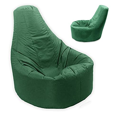 Large Bean Bag Gamer Recliner Outdoor And Indoor Adult Gaming XXL British Racing Green - Beanbag Seat Chair (Water And Weather