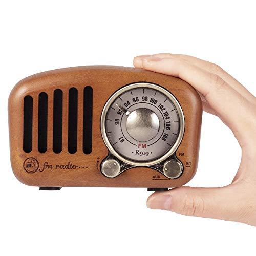 PRUNUS J-919 Klassisches Retro-Holz Design UKW FM SD MP3 Bluetooth Transistor Laderadio mit Lautsprecher, unterstützt AUX-Funktion, 270° großes Kompass Tuning Fenster. (Kirschholz)