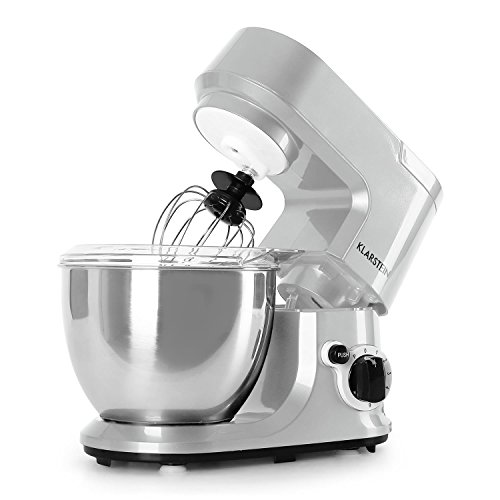 Klarstein Carina Argentea robot de cuisine (bol en acier inox de 4L, 6 vitesses, 800W, protection anti-éclaboussure) - argent