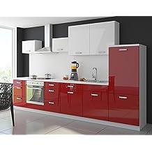 Küche Color 340 cm Küchenzeile Küchenblock Einbauküche in Hochglanz Rot / Weiss