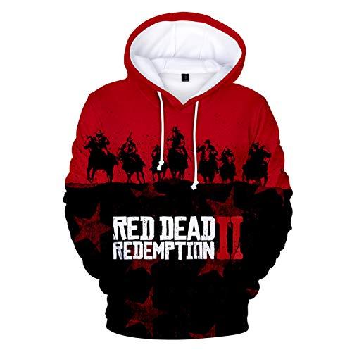 SERAPHY Unisex Kapuzenpulli Red Dead Redemption II Sweatshirt Hoodie 3D Print Hoodie Red Dead Gamer Geschenke Frühling Herbst Winter-Q2339-XL (Pullover Red Kleid)